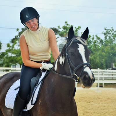 Tizzie Jarvis competing in online dressage