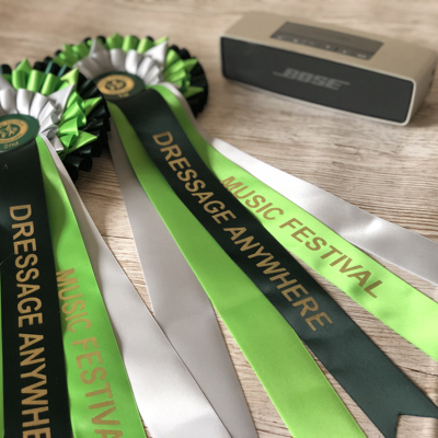 Online dressage freestyle to music rosettes and a Bose Speaker