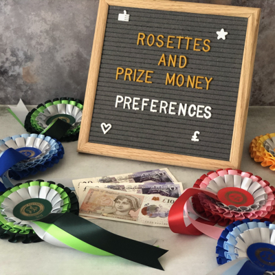 Online dressage rosettes, plus bank notes and a sign
