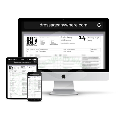 online dressage scoresheet displayed on computer, phone and tablet